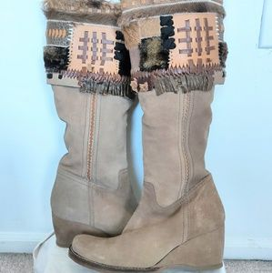 New without Box Apepazza Suede Patchwork Boots 8